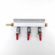 """3 Output / 3 Way Manifold Gas Line Splitter (1/4"""" thread, 6mm Barbs)"""