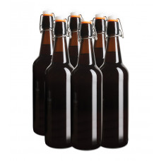 Reusable Brown Glass Flip Top Bottles 750ml x 6