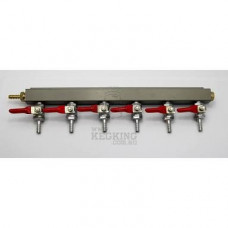 6 Output / 6 Way Gas Line Manifold Splitter with Check Valves.