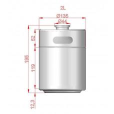 2L Stainless Mini Keg